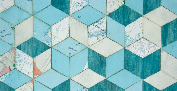 cartography and geometry mixed media collage