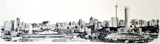 A private commission capturing the central part of the Johannesburg Skyline