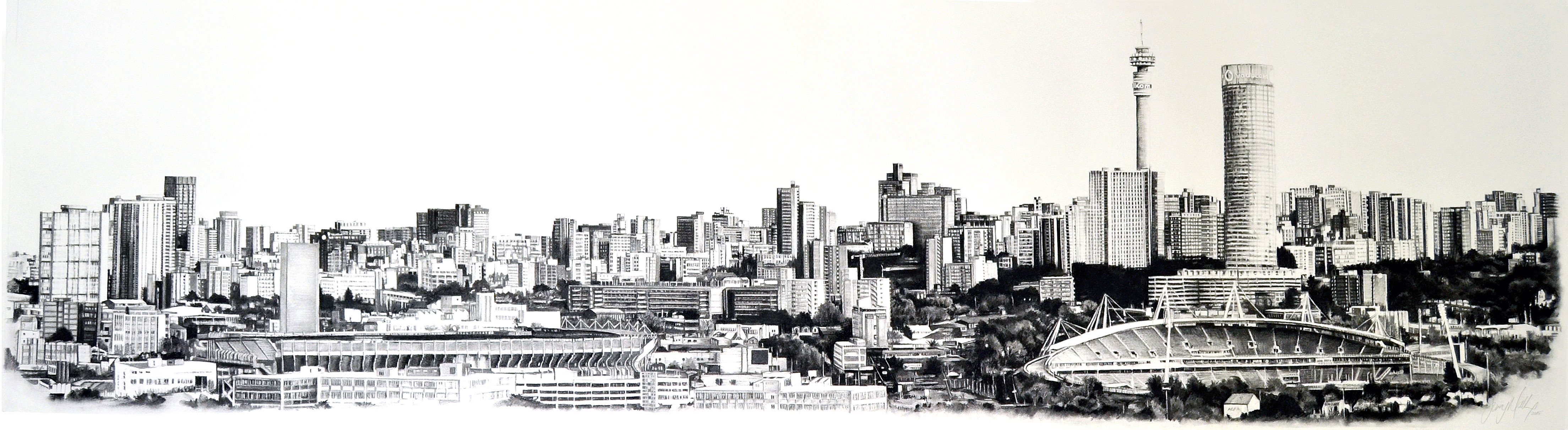 Johannesburg skyline 2mx50cm art people gallery 24m x 500mm charcoal drawing on fabriano paper thecheapjerseys Choice Image