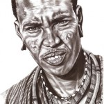 Portrait of a Maasai Warrior of Kenya reflecting the strength & character of this tribe.