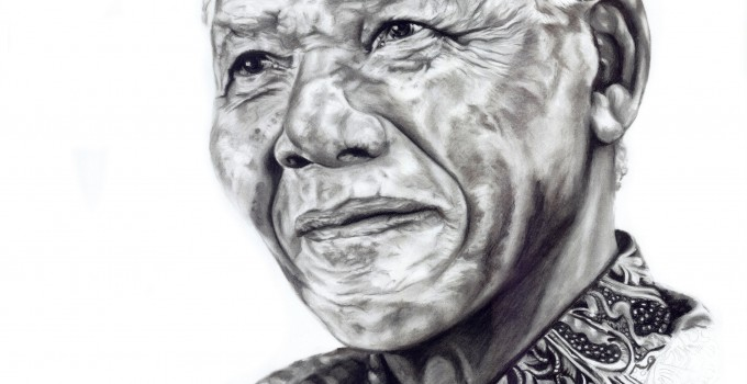 Portrait of Nelson Mandela capturing the generous spirit of this great man