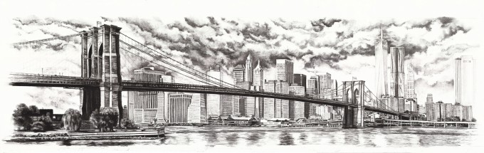 The New York Skyline with the Brooklyn Bridge - includes the new planned buildings - private commission