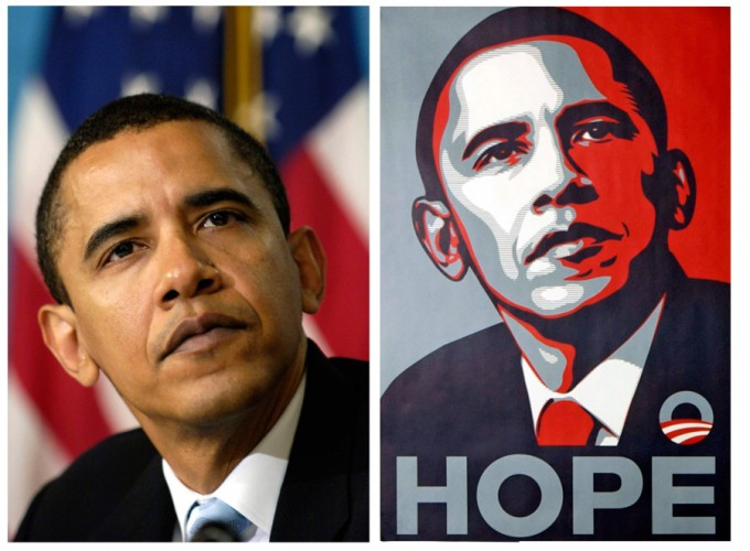 "FILE - In this April 27, 2006 file photo, a poster of President Barack Obama, right, by artist Shepard Fairey is shown for comparison with this file photo of then-Sen. Barack Obama by Associated  Press photographer Manny Garcia at the National Press Club in Washington.  Attorneys for poster artist Shepard Fairey, who designed the famous Obama ""HOPE"" image, say he based it on a photograph taken by The Associated Press and not another picture, as the artist had claimed.  (AP Photo/Manny Garcia/ Shepard Fairey)"
