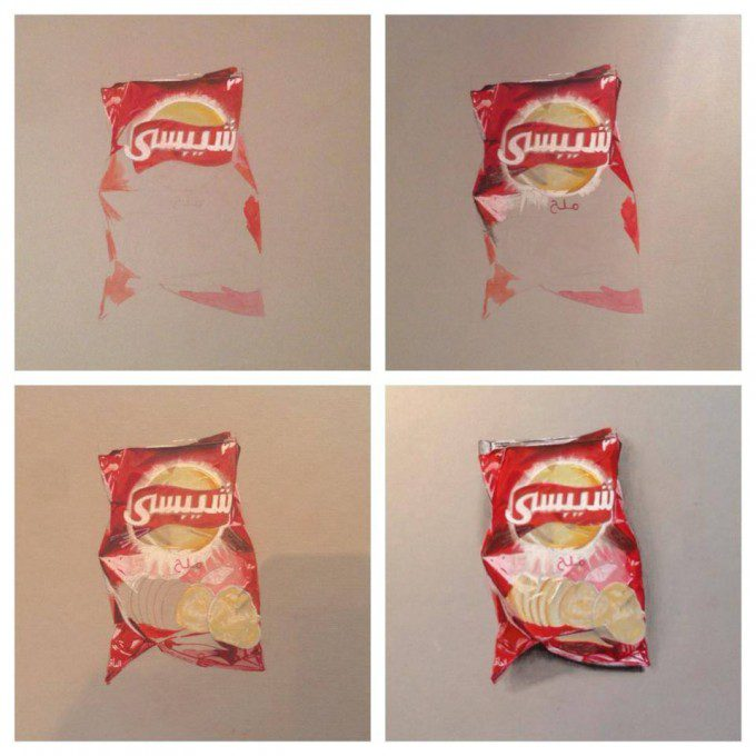 Steps of the drawing of bag of chips using pastel, markers and pens on board paper
