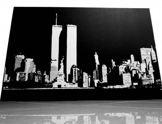 pop art Skyline World Trade Center in memory of the twin towers