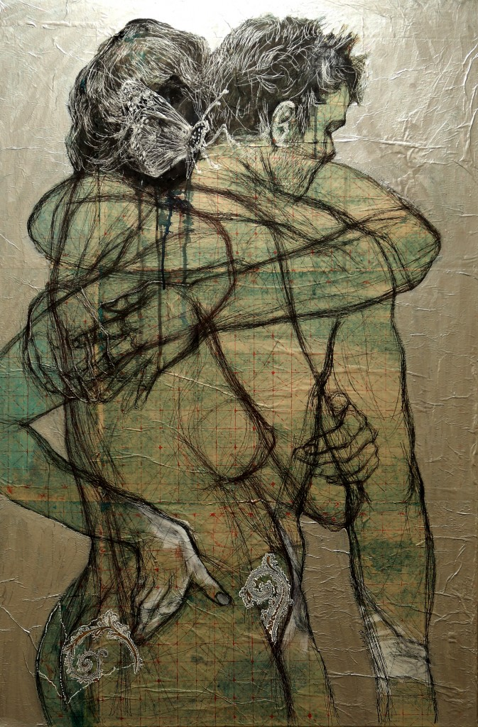 120 x 80 cm ,pen and mixed media on canvas , 2014