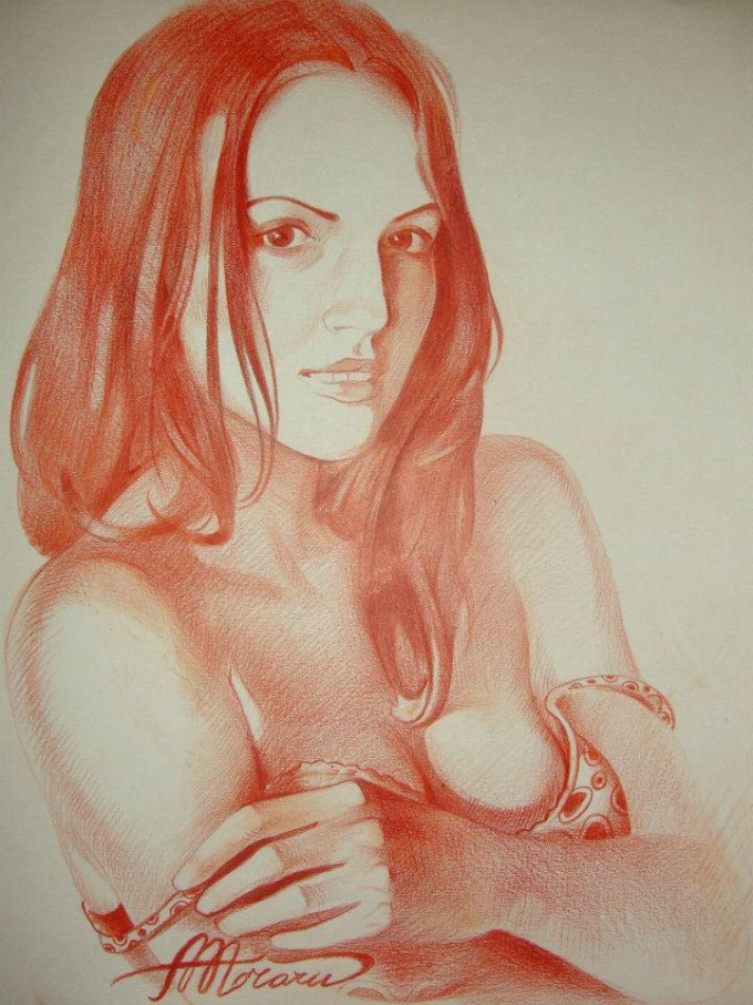 2. Nadia (red chalk on paper)