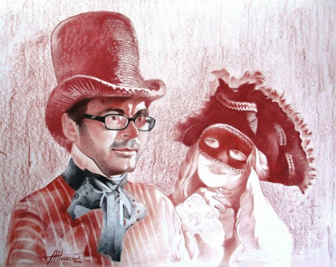 4. Nicolae & his Muse (mixed media on paper)