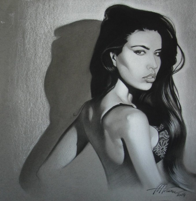 5. Simona (charcoal and white chalk on toned paper)