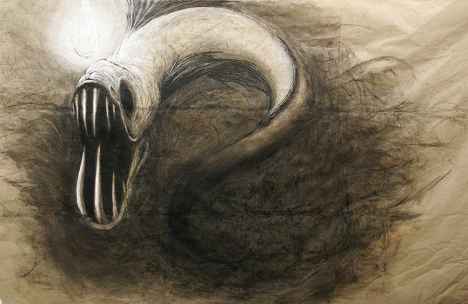 """Viperfish"" (2013. Charcoal on Paper)"