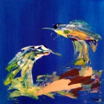 Abstract Painting Two Birds