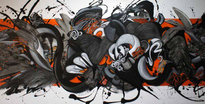 Esther Barend - Dynamic Abstracts - 110x220x4 cm