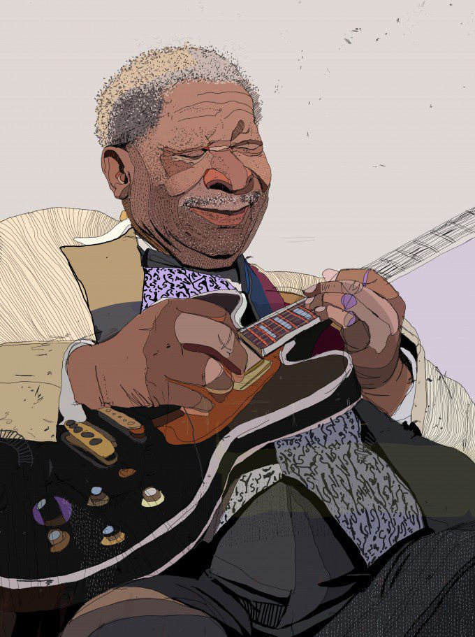 B.B. King for the 2015 3x3 Illustration Directory