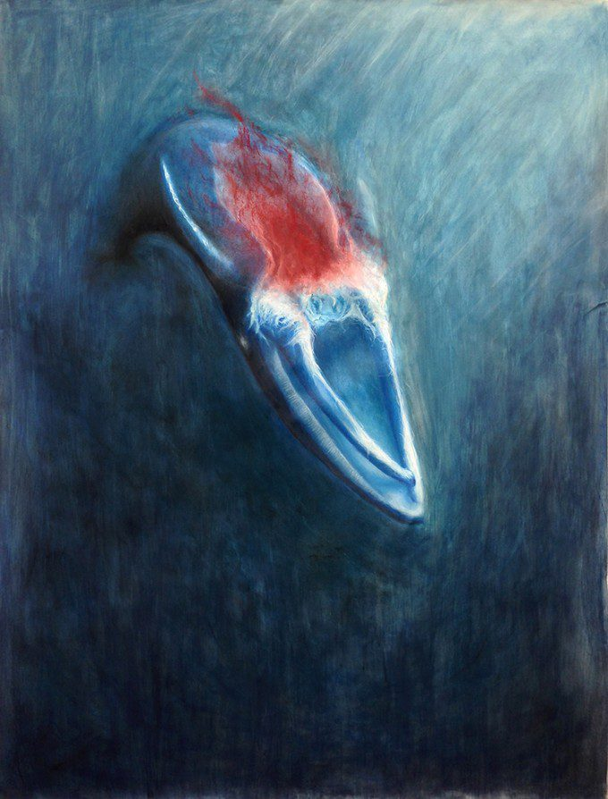 """Carcass of the Grey Whale Calf"" (2013. Chalk Pastel and Acrylic on Paper)"