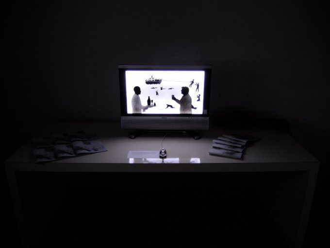 """S.O.S., 2014, acrylic spray graphic,  recycled support TV lcd, LED lighting, audio message in Morse code, measuring 26"""""""