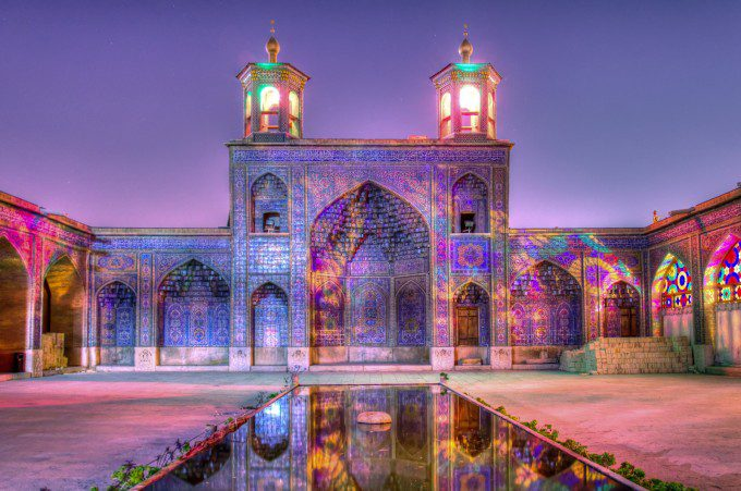 In Celebration Of Colors, The Yard of Nasir al-Mulk Mosque appearance in night.
