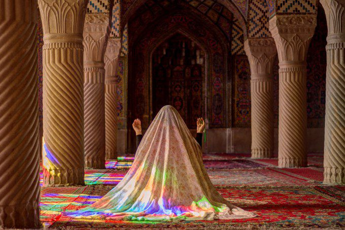Pleasure of Praying, A young woman praying in main Bedchamber of Mosque