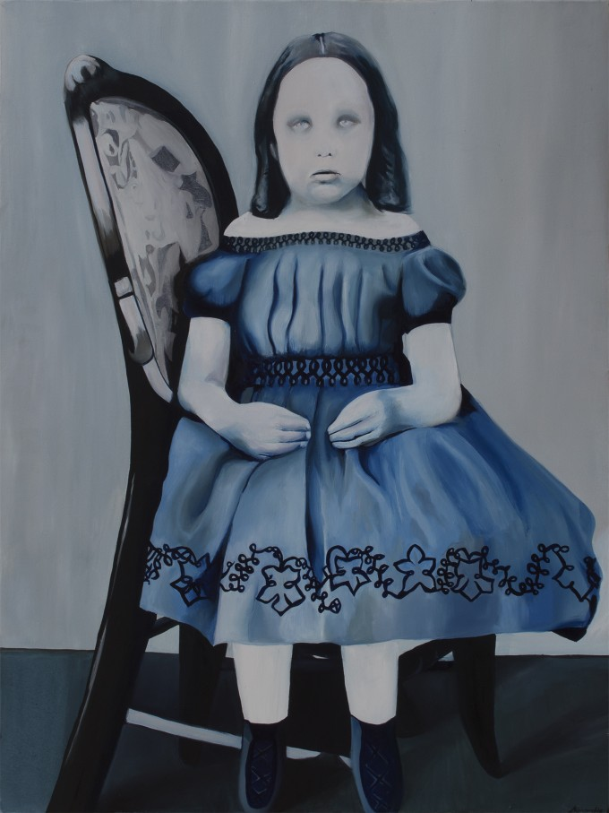 "Emily, 2013, oil on canvas, 36"" x 48"" (91 x 122 cm) www.amaliakouvalis.com"