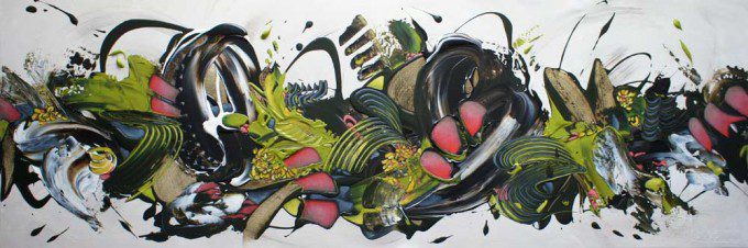 Esther Barend - Dynamic Abstracts 50x150x4 cm