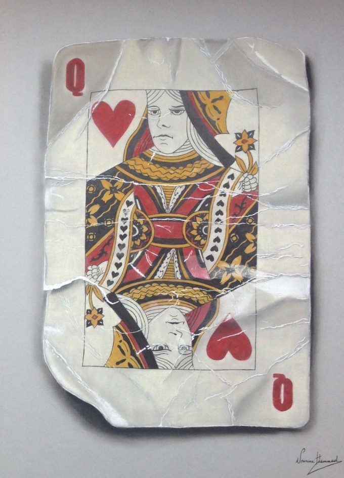 Queen 3D playing card, pastel, markers and pens on board 60 cm x 40 cm