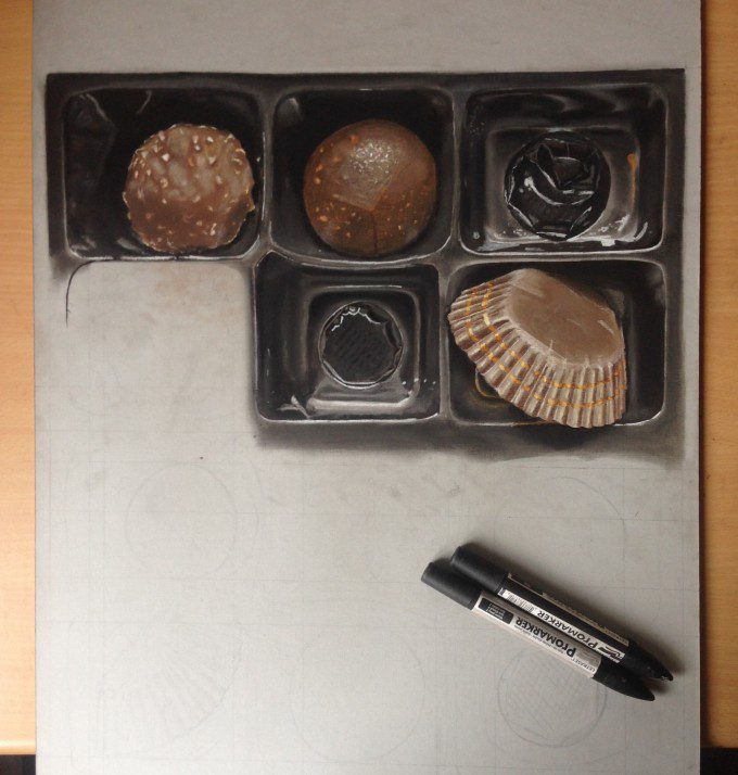 Work in progress, 3D box of chocolate, pastels, markers and pens on board paper 60 cm x 40 cm
