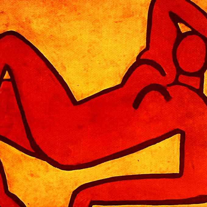Red Woman Reclining by Angelia Pickett Chirichigno