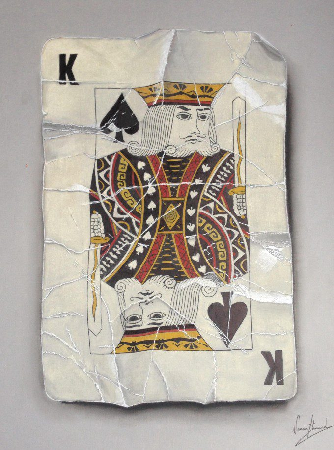 King 3D playing card, pastel, markers and pens on board, 60 cm x 40cm