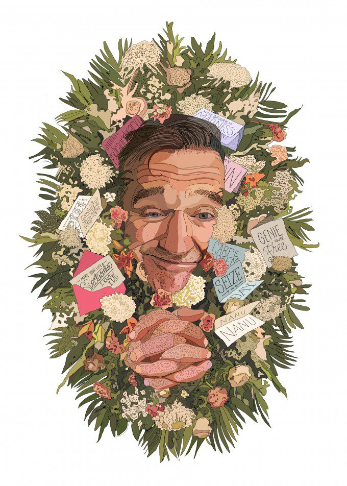 Robin Williams Tribute Illustration featured by Entertainment Tonight's Oscars in Memoriam.