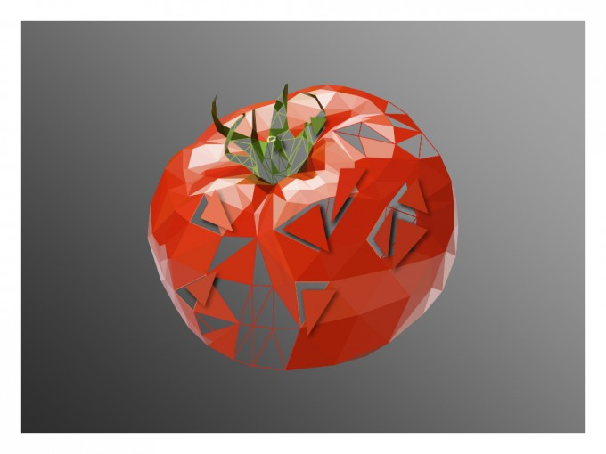 Tomato Super Real Low Poly Portrait