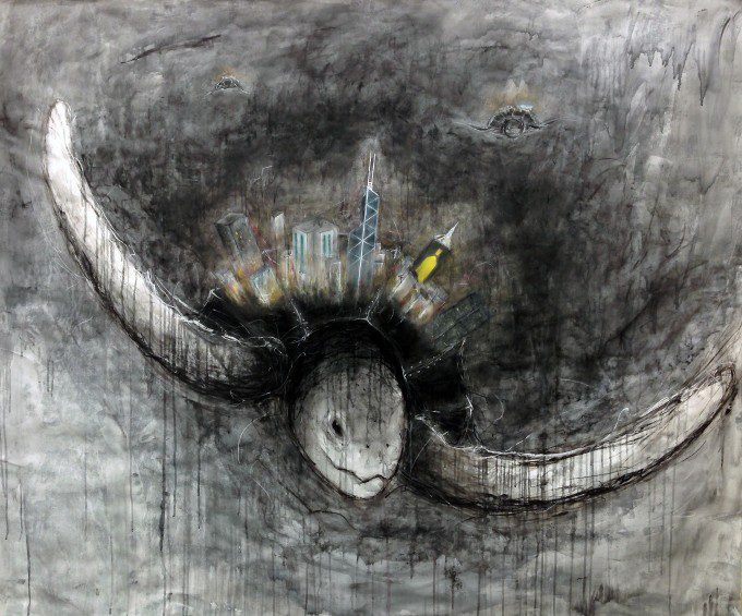 """Turtle Island"" (2013. Chalk Pastel, Charcoal, Acrylic on Paper)"