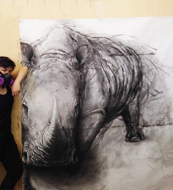 """Northern White Rhino"" (May 2015, Charcoal on Paper)"