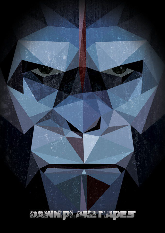 dawn-of-the-planet-of-the-apes-low-low-poly-illustration