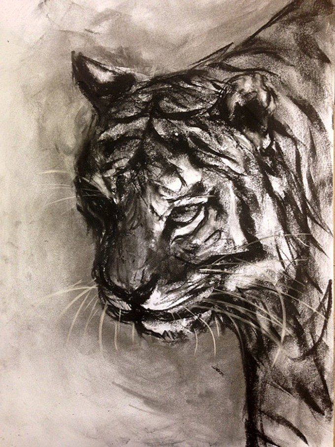 """Hunter"" (2014, Charcoal on Paper)"