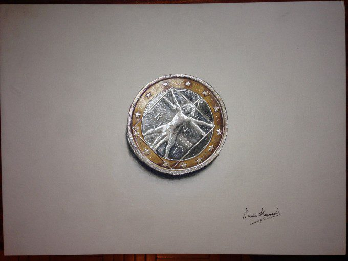 3D Italian Euro Coin, using, watercolors, pastels, markers and pens on board paper