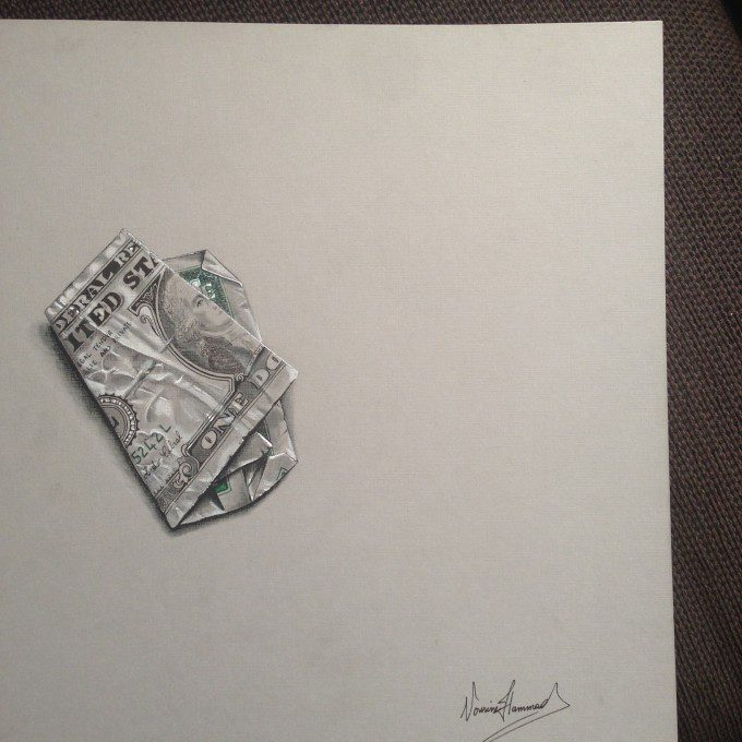 3D dollar bill, pastels, pencils and pens on board paper, 30 cm x 30 cm