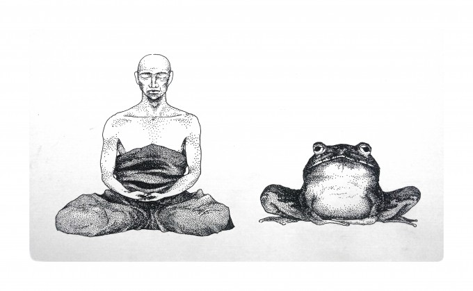 who sits? the frog or you? is there a difference?
