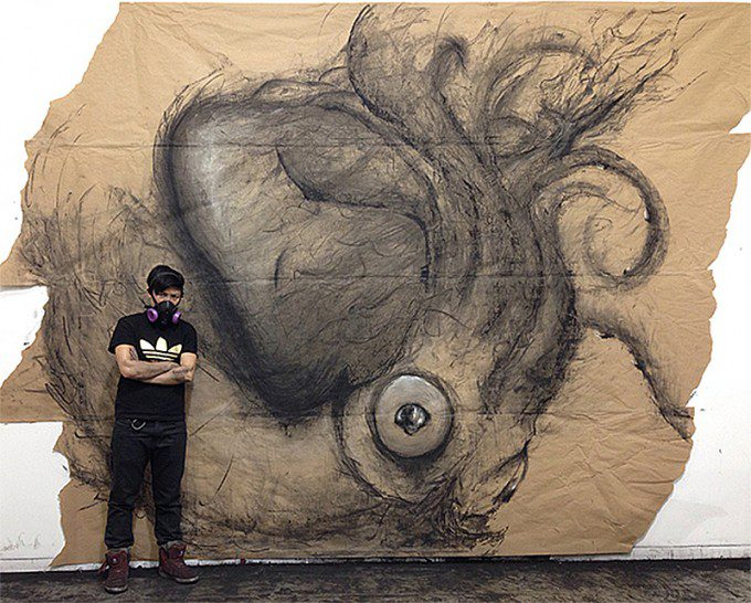 """Colossal Squid VS Sperm Whale"" (2014. Charcoal on Paper)"