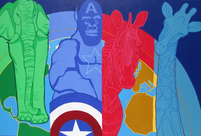 Marvelous Heroes Painting of animals (Elephant, Giraffe, Gorilla, Zebra) as Avengers