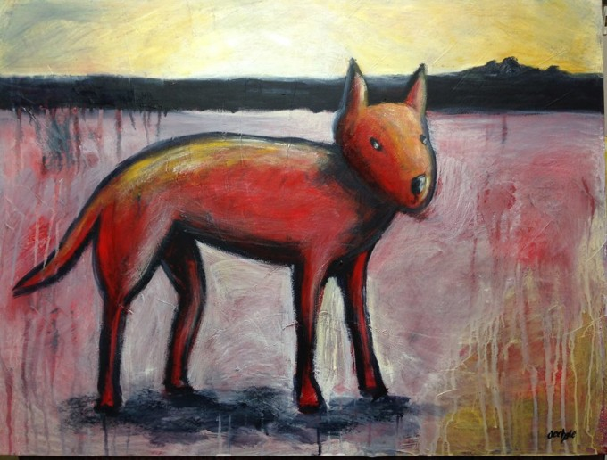 Red Dog Acrylic on canvas 1m x 76cm
