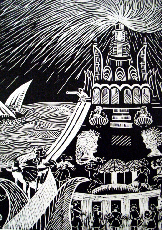 7-Lighthouse of Alexandria,linoleumcut,70x50cm.,2009