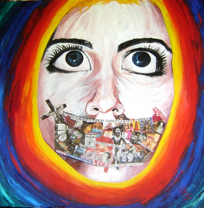 """bla""acrilic and collage on canvas. 100 cm x100cm 2012"