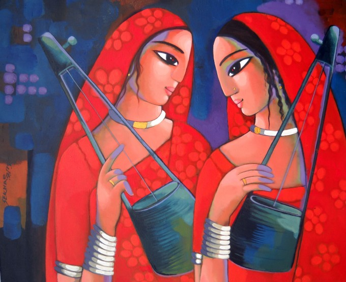 red,blue,instrument,sekhar roy,colorful,painting,indian art,contemporary art,music,woman