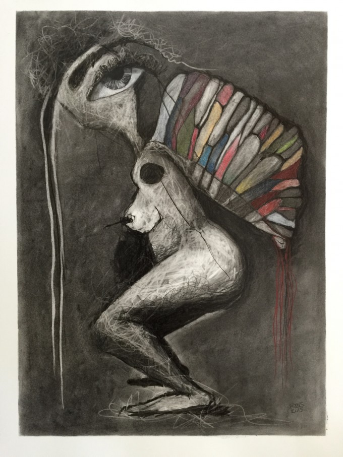Can I Fly by Ruth Chase 2015 Charcoal and Pastel on Paper