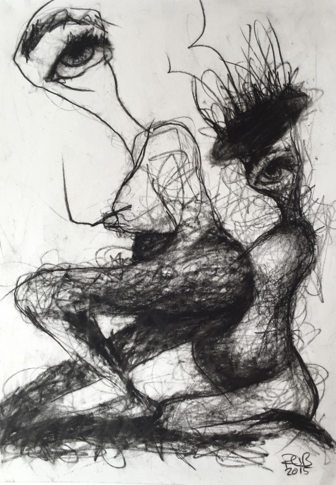 Daughter Birthing Mother by Ruth Chase 2015 Charcoal on Paper