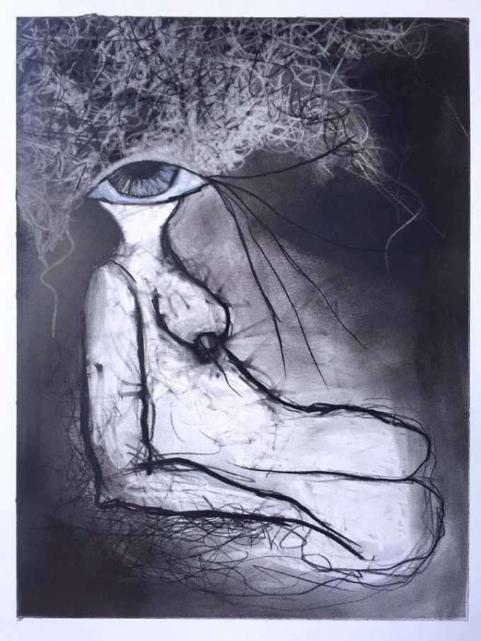 In Waiting by Ruth Chase 2015 Charcoal on Paper