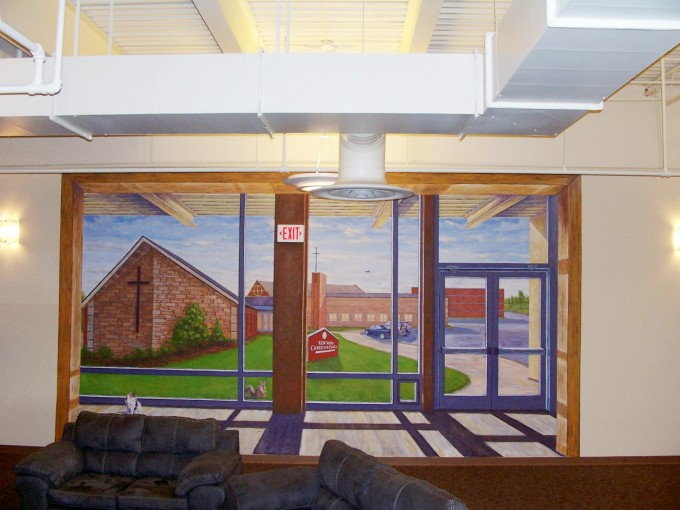 muralbydesign, 3d illusion, window mural, trompe l'oeil mural, free hand mural, kentwood christian church mural