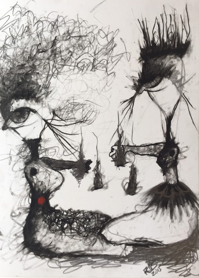 Mommy Playdate by Ruth Chase 2015 Charcoal On Paper