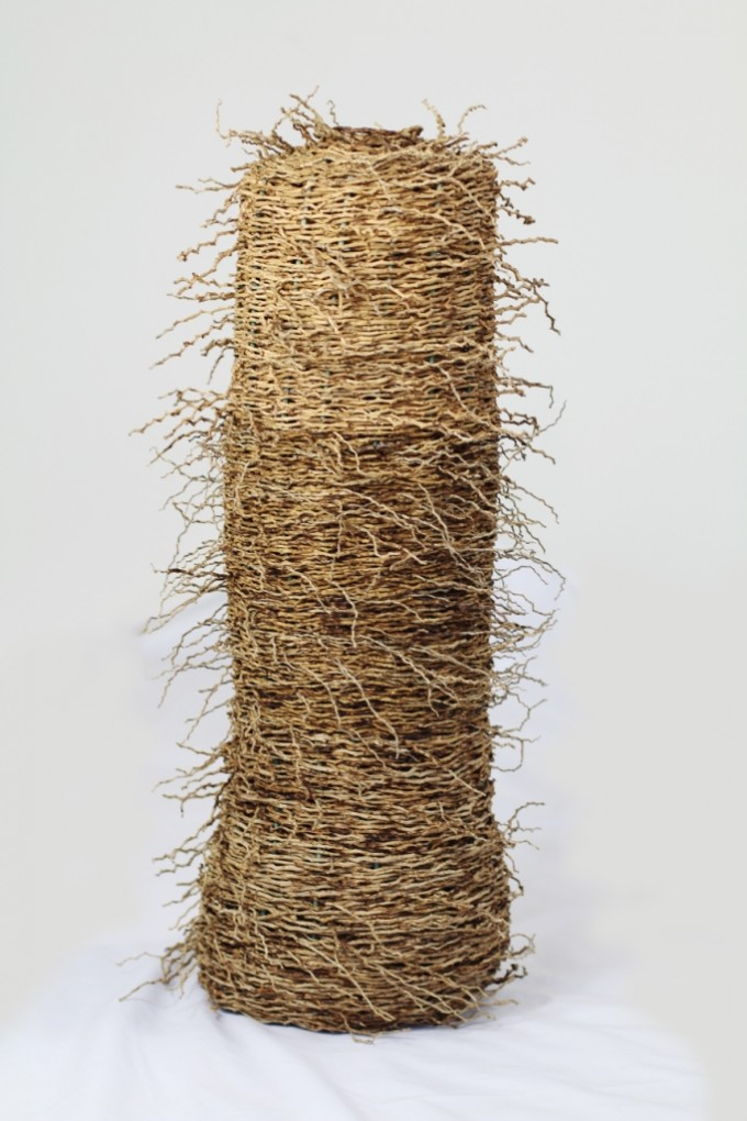 New Growth is about honouring and worshiping the earth beneath our feet and the new growth that can emerge from it. Material: Bangalow Palm Inflorescence, rattan, cumbungi Size: 500mm x 100mm