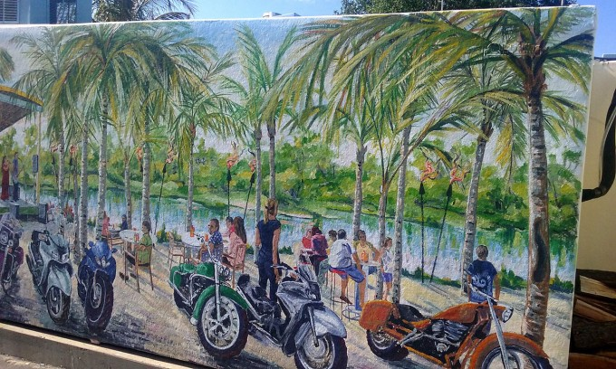 muralbydesign, 3d illusion, window mural, trompe l'oeil mural, free hand mural, the score restaurant mural, beach mural, palm trees mural, motorcycle mural,