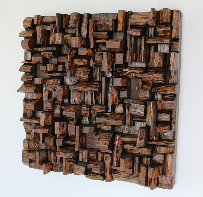 wood art, recycled wood art, art of acoustic panel, wooden blocks panel